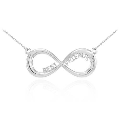 """14K White Gold """"BEST FRIENDS"""" Infinity Necklace"""