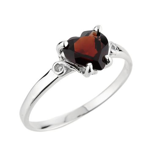 Ladies Heart Shaped Garnet Ring in White Gold