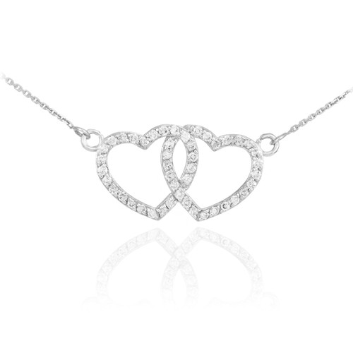 14K White Gold CZ Studded Double Heart Necklace