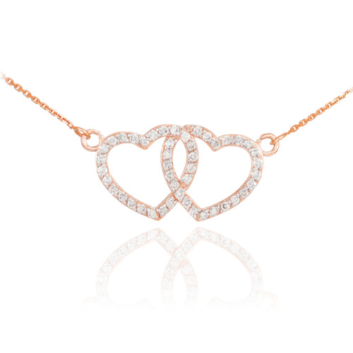 14K Rose Gold CZ Studded Double Heart Necklace