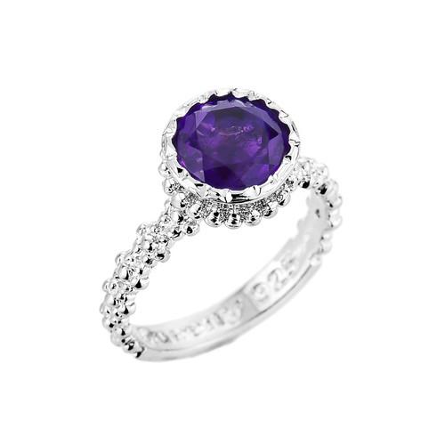 Sterling Silver Checkerboard Cut Lab Created Amethyst Gemstone Ring