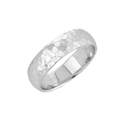 White Gold Hammered Classic Wedding Band