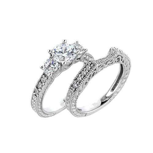 14k Gold  Art Deco Engagement Wedding Ring Set