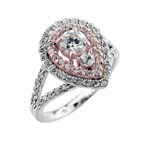 14k Two-tone Diamond Engagement Proposal Ring