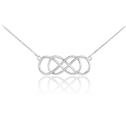 Sterling Silver Double Knot Infinity Necklace