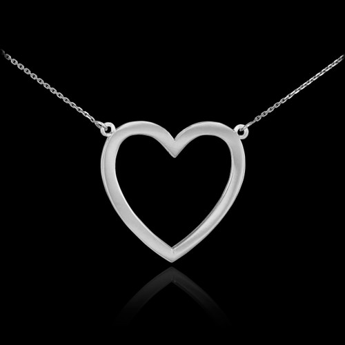 925 Sterling Silver Open Heart Necklace