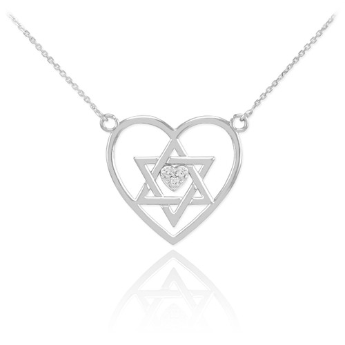 Sterling Silver Open Heart Star of David CZ Pave Heart Necklace