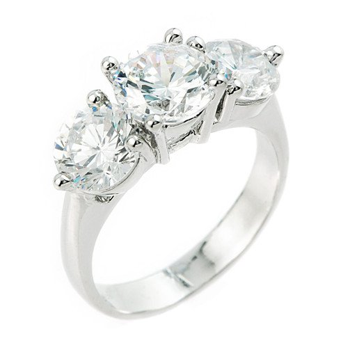 Sterling Silver 3 Stone Cubic Zirconia Engagement Wedding Ring