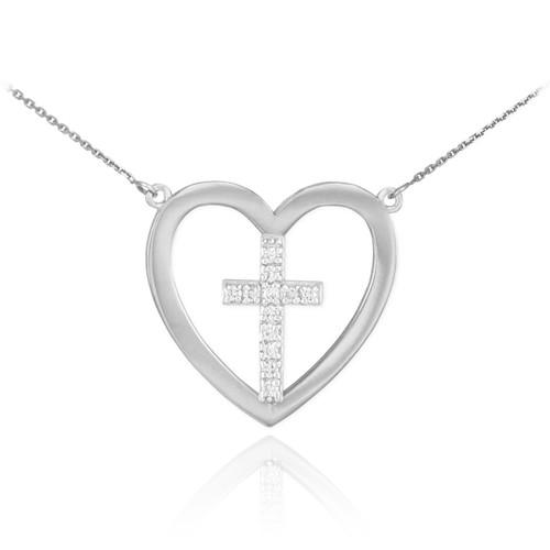 14K White Gold Open Heart Diamond Cross Necklace