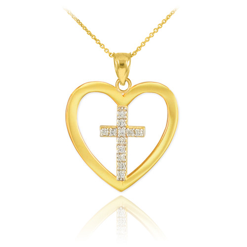 Gold Open Heart Diamond Cross Pendant Necklace