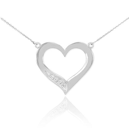 Sterling Silver Open Heart CZ Necklace