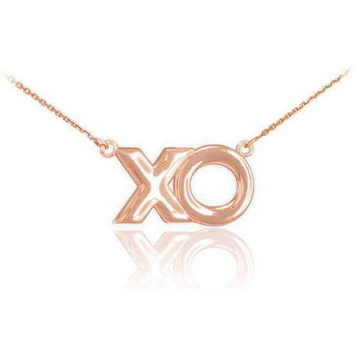 "14K Rose Gold ""XO"" Hugs & Kisses Necklace"