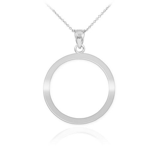 White Gold Circle Of Life Karma Pendant Necklace