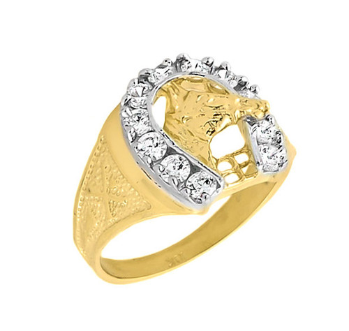 Yellow Gold Men's White Topaz Horseshoe Ring