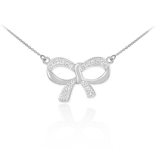 white gold diamond bow necklace