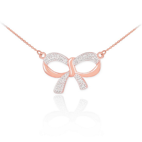 14K Polished Rose Gold Diamond Bow Necklace