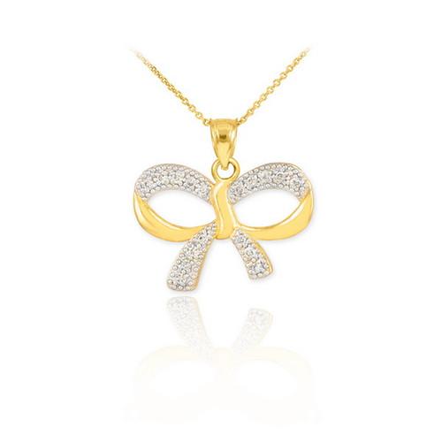 Polished Gold Diamond Bow Pendant Necklace