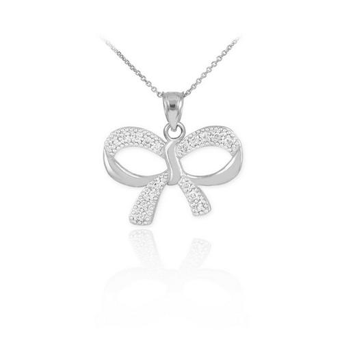 Polished White Gold Diamond Bow Pendant Necklace