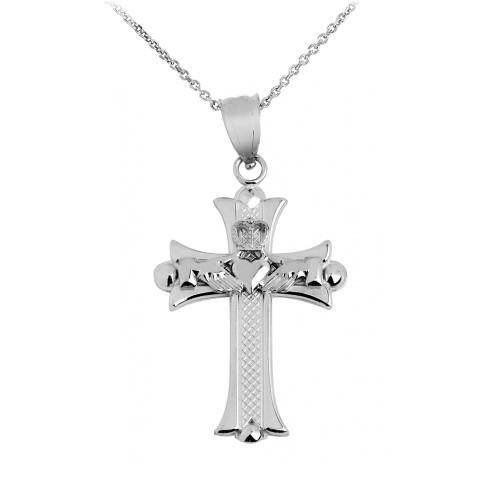 Claddagh Cross Silver Pendant Necklace
