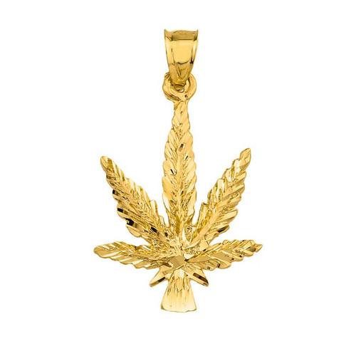 10k Yellow Gold Marijuana Charm Pendant