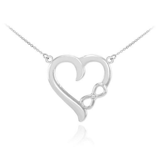 white gold infinity heart necklace