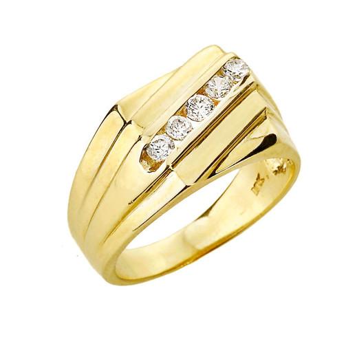 Yellow Gold Channel Set Diamond Men's Ring
