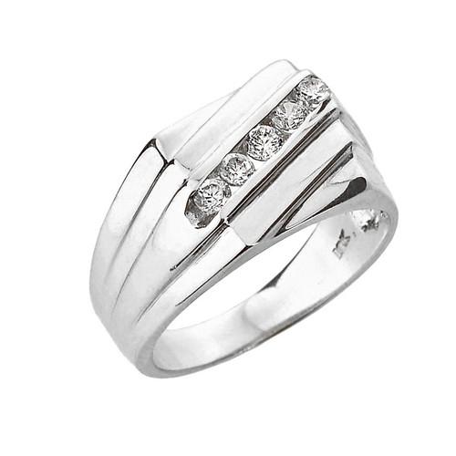 White Gold Channel Set Diamond Men's Ring