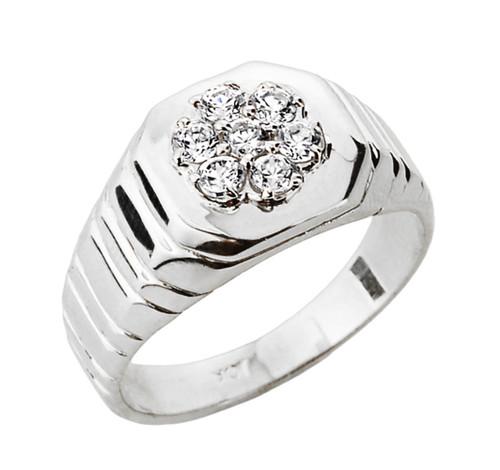 Diamond Men's Ring in White Gold