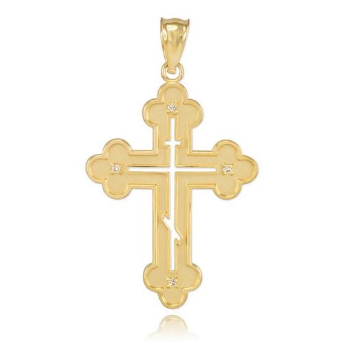 gold eastern orthodox diamond pendant