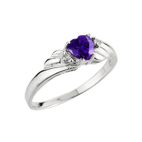 White Gold Amethyst Gemstone Diamond Ladies Ring