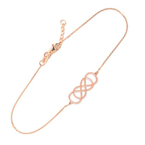 14K Rose Gold Double Knot Infinity Bracelet