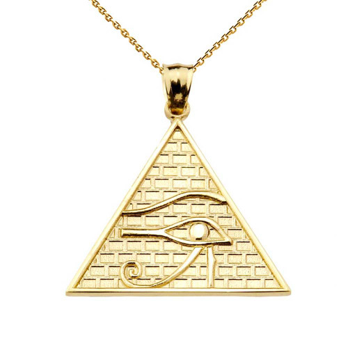 Solid Gold Horus Pendant Necklace (13 steps)