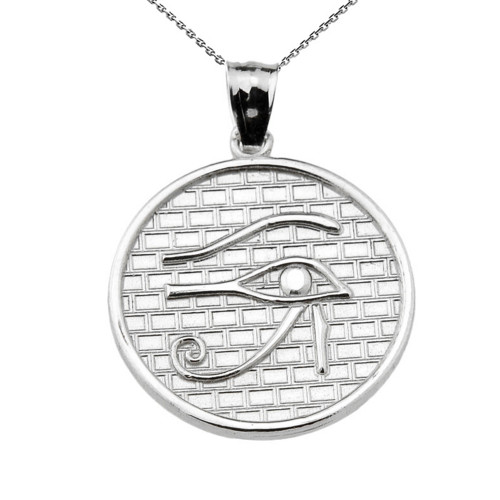 Sterling Silver Eye of Horus Round Charm Pendant Necklace (13 steps)