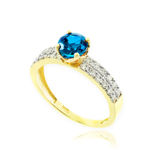Blue Topaz Gemstone Gold Diamond Pave Engagement Ring