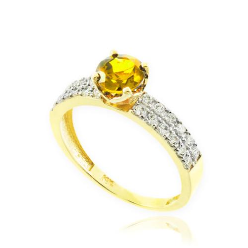 Citrine Gemstone Gold Diamond Pave Engagement Ring