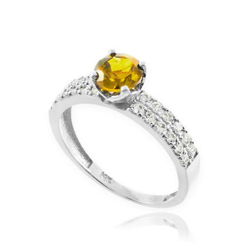 Citrine Gemstone White Gold Diamond Pave Engagement Ring