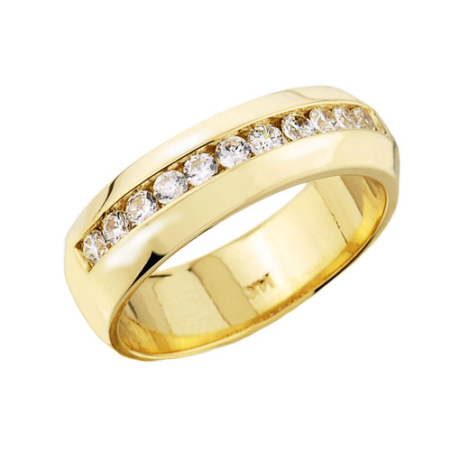Gold Diamond Unisex Wedding Band