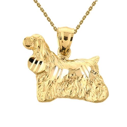 Solid Yellow Gold Diamond Cut Field Spaniel Pendant Necklace