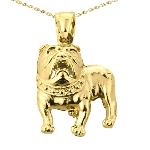 Solid Yellow Gold Bulldog Pendant Necklace