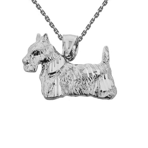 Sterling Silver Diamond Cut Scottish Terrier Pendant
