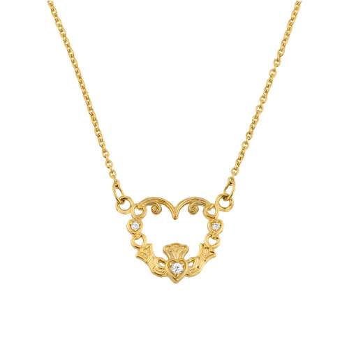 14K Gold Diamond Claddagh Pendant Necklace
