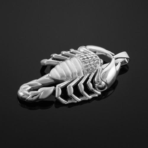 Men's White Gold Scorpion CZ Pendant