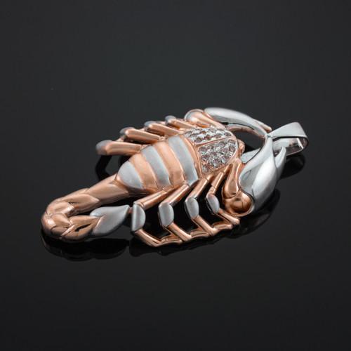 Two-Tone Rose Gold Scorpion CZ Pendant