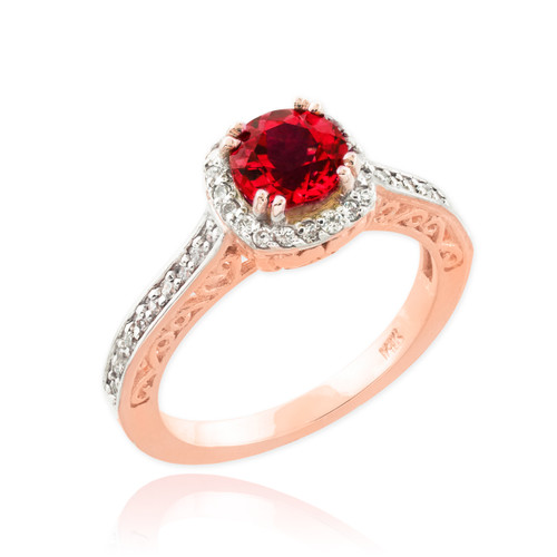 Rose Gold Halo Diamond Pave Ruby Engagement Ring