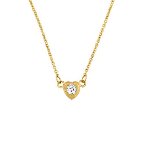 14K Gold CZ Dainty Heart Necklace