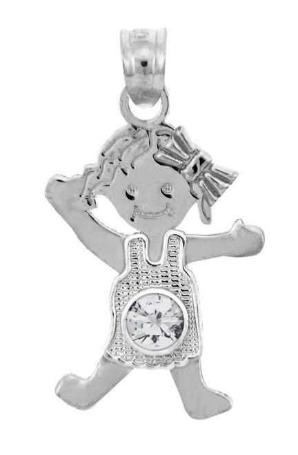 Sterling Silver Baby Girl Birthstone Charm w/ Clear CZ Crystal