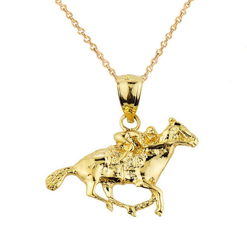 Yellow Gold Polo Horse and Rider Sports Charm Pendant