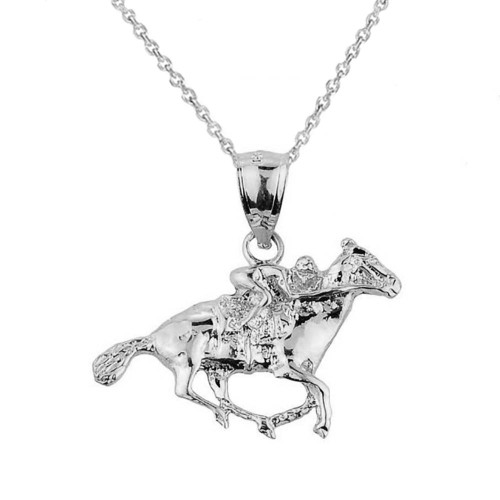 White Gold Polo Horse and Rider Sports Charm Pendant