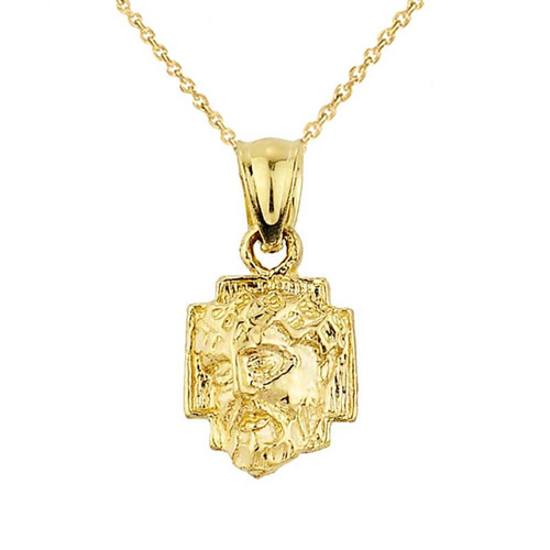 Solid Yellow Gold Jesus Face Pendant