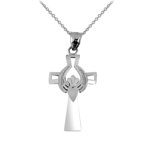 Classic Silver Claddagh Charm Necklace